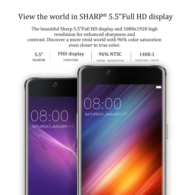 DOOGEE SHOOT 1 Smartphone 4G LTE 5,5 Pulgadas 1920 x 1080 Pixel FHD Android 6.0 Cámara 13MP + 8MP MTK6737T Quad Core Touch ID 2GB RAM 16GB ROM Tarjeta TF Hasta 256GB