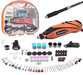 Mini Amoladora Eléctrica, GINELSON Kit de Herramientas Rotativas Multifunción sin Llave/Eje Flexible con 150 Accesorios, 6...