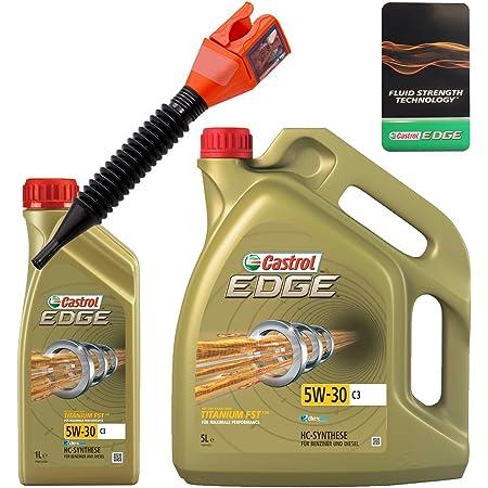 1 L 5 L 6 Liter Castrol Edge Fluid Titanium 5w 30 C3 Motoröl Inkl Castrol Ölwechselanhänger Und Einfülltrichter Auto
