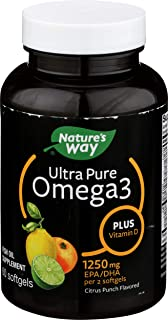 Nature's Way Ultra Pure Omega3 Fish Oil Plus Vitamin D, 1250 mg EPA/DHA, Citrus Punch, 60 Softgels