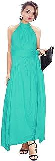 Lakkar Haveli Women's Long Dress Tunic Helter Neck Dress Casual Frock Suit Teal Color