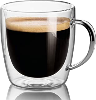 Set Of 2 Mugs - 14 oz Large Coffee Mug Double Wall Glass, Clear Cups, Dishwasher. Microwave, freezer with NO RISK.