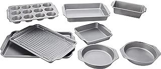 Farberware Nonstick Bakeware 10-Piece Set with Cooling Rack, Gray (Renewed)