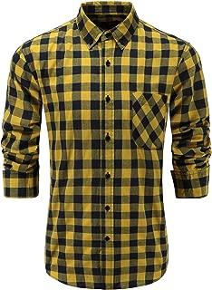 Mens Slim Fit Long Sleeve Button-Down Plaid Dress Shirt