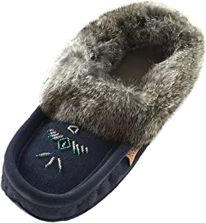 Women's Beaded and Rabbit Fur Collar Suede Moccasins Slippers