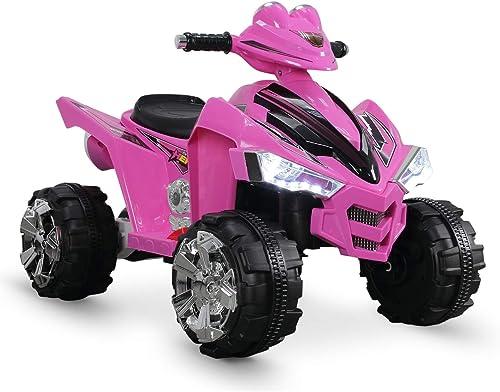 new arrival Kidzone outlet sale 12V Kids Battery Powered Electric 4-Wheeler Quad Toddler outlet online sale Ride-On ATV w/ 2 Speeds LED Lights Treaded Tires, ASTM F963 Certified, Pink online sale