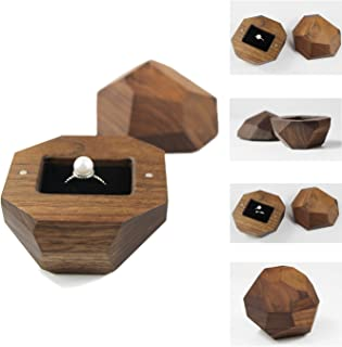 Wooden Ring Box with Black Velvet Lining Engagement Ring Case