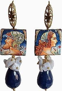 Orecchini Siciliani con Mattonelle in Ceramica di Caltagirone e Agata Blu