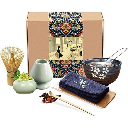 Artcome Japanese Matcha Tea Set, Matcha Whisk, Traditional Scoop, Matcha Bowl, Ceramic Whisk Holder, Matcha Caddy, Handmade Matcha Ceremony Kit For Traditional Japanese Tea Ceremony (9Pcs)