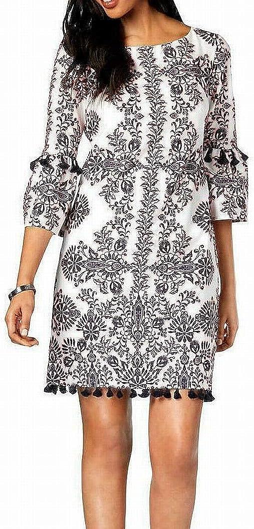Vince Camuto Women's Printed Cotton Tassel Dress, Pink/Multi, 14