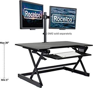 """Rocelco 38"""" Large Height Adjustable Standing Desk Converter   Quick Sit Stand Up Dual Monitor Riser   Gas Spring Assist Computer Workstation   Retractable Keyboard Tray   Black (R DADRB-38)"""