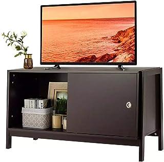 TV Armoire Cabinet TV Cabinet de divertissement moderne adapté à la télévision jusqu'à 50 pouces avec porte coulissante po...