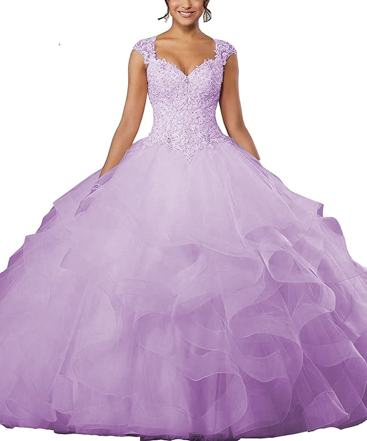 JQLD Women Sweetheart Crystal Beaded Prom Gown Sleeveless Ball Gown Quinceanera Dresses