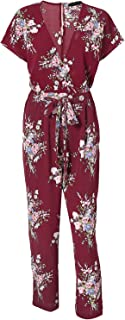Missy Chilli Women's Floral Print Short Sleeve V Neck Wrap Jumpsuit with Tie Waist