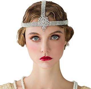 SWEETV 1920s Headband para mujer Silver Rhinestone Hairpiece Flapper Headpiece para Gatsby Party