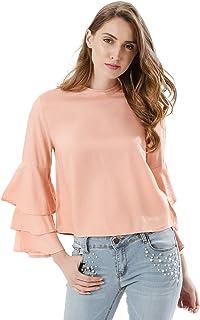 Koovs Peach High Neck Blouse For Women