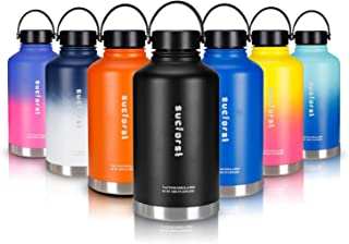SUCFORST 64 oz Water Bottle, 2 Extra Accessories Vacuum Insulated Wide Mouth Liter Flask, Hot 12 Hours & Cold 24 Hours - Powder Coated Double Walled Metal Bottles - Black