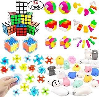 Fun Party Favors For Kids Toy,Mochi Squishies,Puzzle Balls,Finger Gyro Spiral Twister Toys For Party Toys,Birthday Party,Classroom Rewards,Carnival Prizes,Pinata Filler,Treasure Chest,Goody Bag Fillers(Assorted 34 Pack)