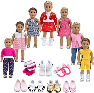 Howona 18 inch Doll Clothes Gift Girls - Include 7 Set Toys Doll Outfits + 2 Pairs Shoes Accessories fit American 18 inch Girl Dolls