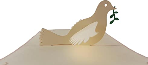 iGifts And Cards The Dove With Olive Branch 3D Pop Up Greeting Card - Peace, Religious, Holy, Spirit, Bible, Wow, Half-Fold, Confirmation, First Communion, Baptism, Wedding, Thinking of You, Christmas