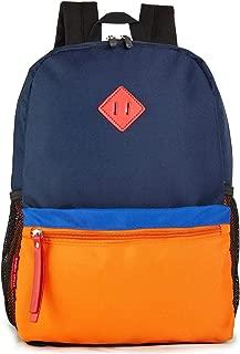 HawLander Preschool Backpack for Toddler Little Kid School Bag for Boys or Girls (Navy-orange)