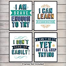 Reading and Learning Motivational Art Prints, Wall Art Posters - Unique Home Decor for Classroom, School, Kids Bedroom, Toddler and Child Room, Library - Gift for Teachers, Moms, Dads, (Set of 4) 8x10