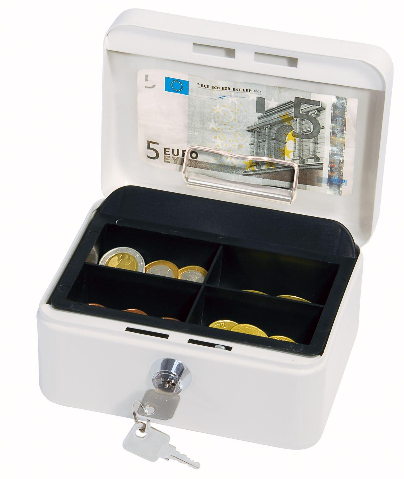 Wedo 14510 - Caja para dinero (15,2 x 11,5 x 8 cm, 4 compartimentos), color blanco: Amazon.es: Oficina y papelería
