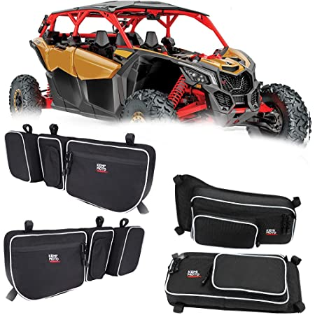 Kemimoto X3 Front and Rear Upper Door Bags compatible with 2017 2018 2019 2020 2021 Can Am Maverick X3 Max XRS XDS Turbo RR with Removable Knee Pad