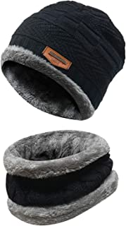 Men's 2-Pieces Winter Beanie Hat Scarf Set Warm Knit Hat Thick Fleece Lined Winter..