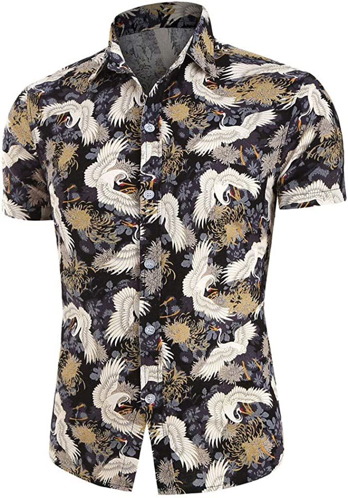 MODOQO Men's Hawaii Printed Breathable Loose Fit Short Sleeve Button Down Shirt for Outdoor Summer