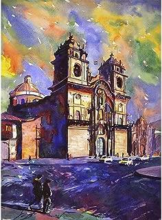 Watercolor painting of the facade of the Iglesia de la Compañía de Jesus on the Plaza de Armas in the Incan city of Cusco (Cuzco)- Peru (print)