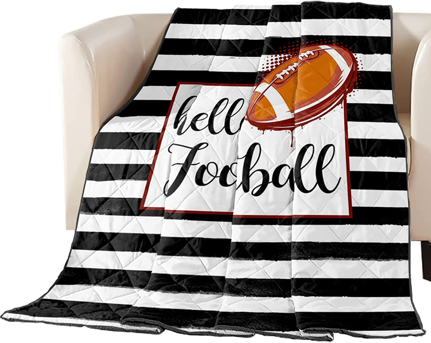 Arts Language Max 55% OFF Bedspread Quilt Twin and Size Large discharge sale Hello Football Black
