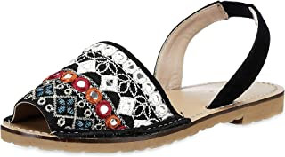 Saint G Womens Multi Mirror Fabric Leather Flats