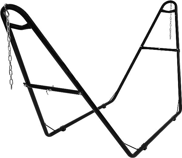 Sunnydaze 550 磅容量通用多用途重型钢吊床支架 2 人适合吊床 9 到 14 英尺长的黑色