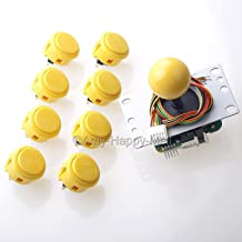 Sanwa JLF-TP-8YT Joystick + 8 piece Sanwa OBSF-30 Push Buttons Bundle Kit Color: Yellow