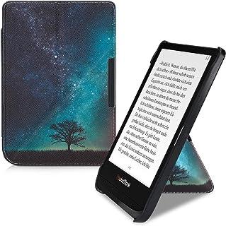 kwmobile Funda Compatible con Pocketbook Touch Lux 4/Basic Lux 2/Touch HD 3 - Carcasa magnética de Origami para e-Book - árbol y Estrellas Azul/Gris/Negro