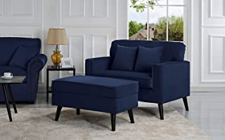 Casa Andrea Milano Modern Velvet Upholstered Lounge Accent Chair - Dark Blue Single Seater with Storage Ottoman-Coffee Table, Lounger Chaise Chair for Living Room (Royal Blue)