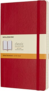 Moleskine Classic Soft Cover Notebook - Ruled - Large - Scarlet Red, (QP616F2)