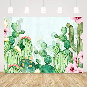 10x10ft Green Cactus Succulent Watercolor Painting Illustration Vinyl Photography Background Desert Plants Scenic Backdrop Summer Party Birthday Banner Foliage Wallpaper Studio Props