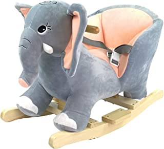 Infant Soft Plush and Solid Wood Rocking Chair Elephant with Sound