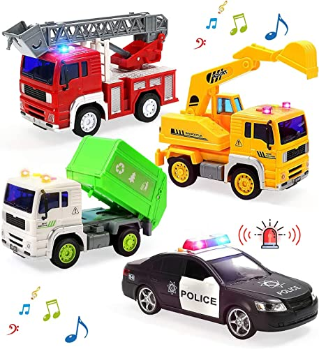 2021 Fire Truck, Construction Truck, Police Car and Garbage Truck with Sound and Light, Pull Back Cars Push and Go outlet sale Cars Friction Powered Play high quality Vehicles for Toddler Boys and Girls outlet sale