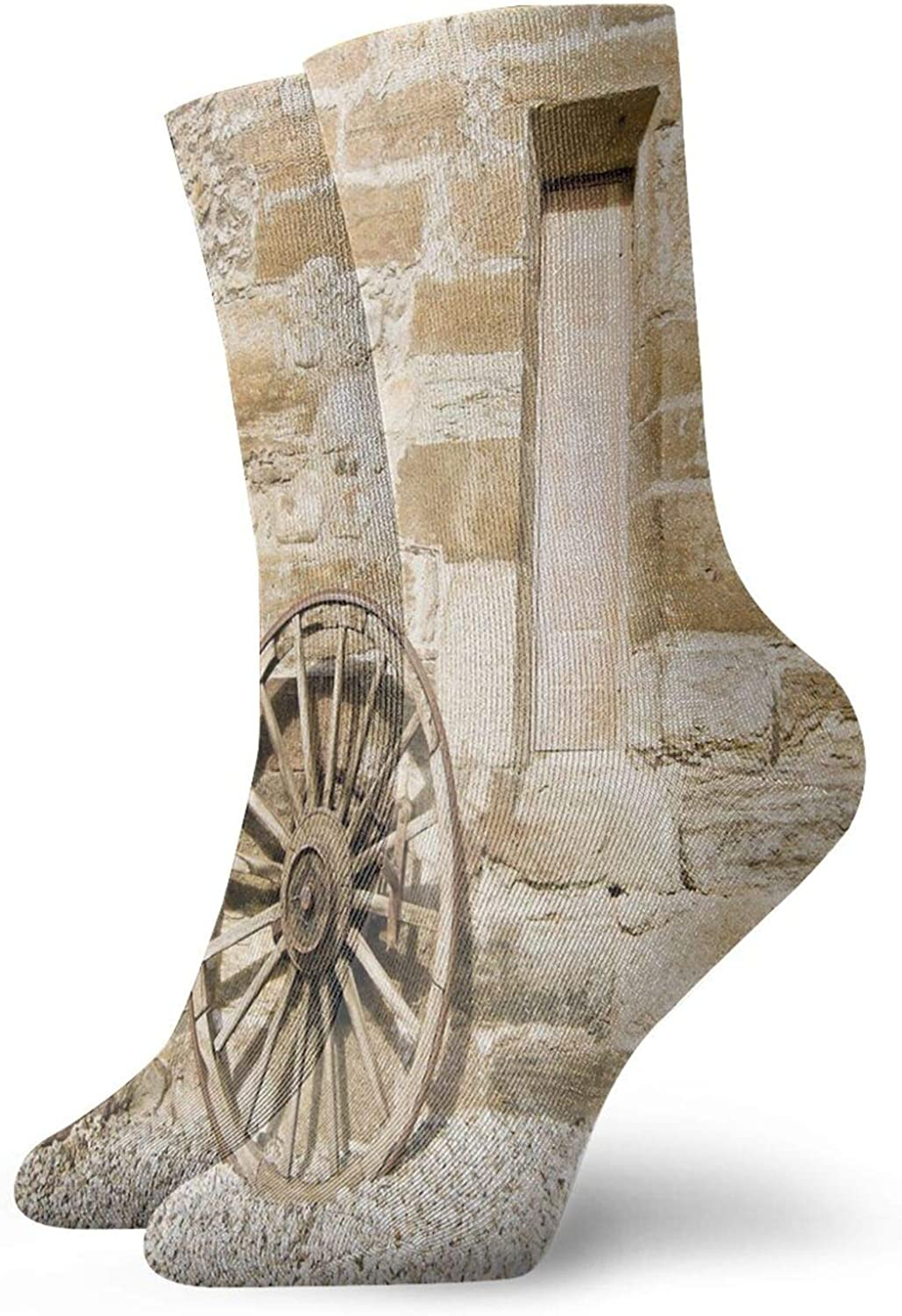Compression High Socks-Ancient Rural Facade With Old Wheel Traditional Country House Best for Running,Athletic,Hiking,Travel,Flight
