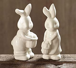 Easter Bunny Girl and Boy Cream Colored Salt and Pepper Shakers