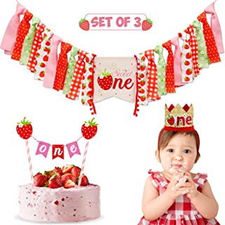 Strawberry Theme 1st Birthday Decorations Kit for Baby Girl Strawberry Party Highchair Banner Crown ONE Cake Topper Summer Fruit Theme Cake Smash Photo Prop Supplies