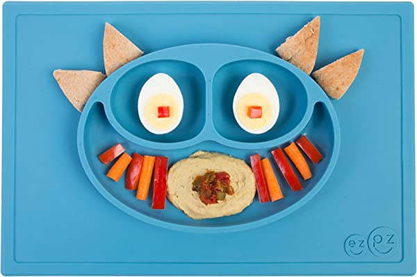 Ezpz Happy Mat One Piece Silicone Placemat Plate Blue