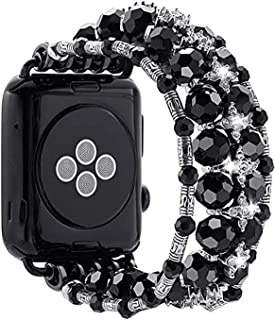 Jullstar Band Compatible for Apple Watch,Elastic Bling Beaded Pearl Sparkling Rhinestone Bracelet Bangle for iphone Watch ...