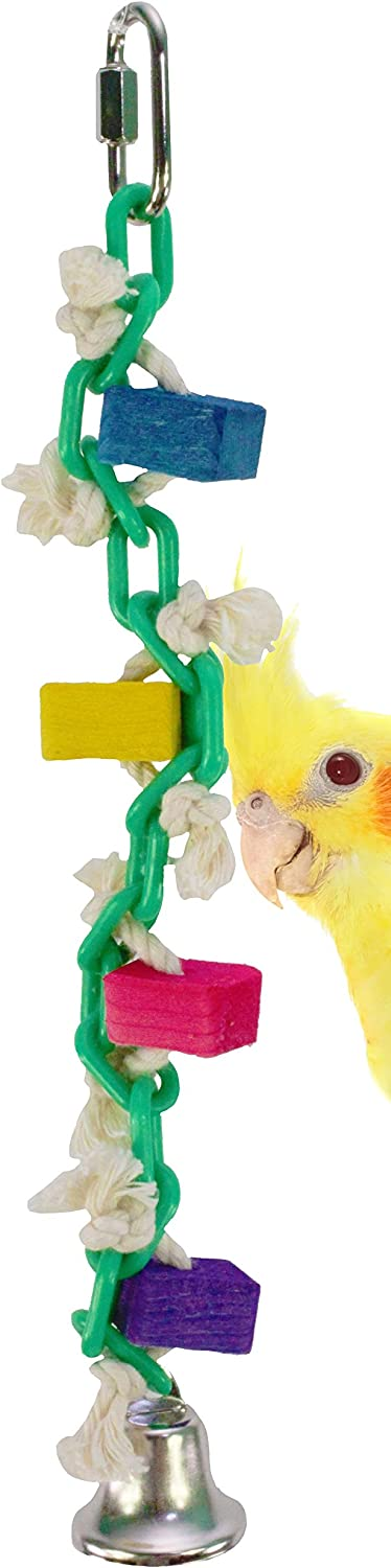 Bonka Bird Toys 1008 Chain Wiggle Bird Toy Parred cage chew Toys Cages Cockatiel Conure Parakeet Quality Product Hand Made in The USA