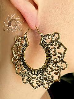 Brass Earrings - Brass Hoops - Tribal Earrings - Indian Earrings - Ethnic Hoops - Tribal Hoops - Ethnic Earrings - Brass Jewelry EB88