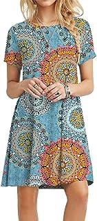 Women's Summer Casual Tshirt Dresses Short Sleeve Boho Beach Dress
