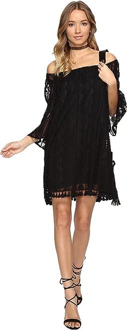 Denney Embroidered Off Shoulder Dress